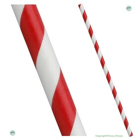 Smoothie Cherry Red and White Stripe (197mm x 8mm) Biodegradable Drinking Straws