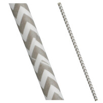 Grey and White Chevron Biodegragdable Paper Drinking Straws - 197mm x 6mm (Regular)