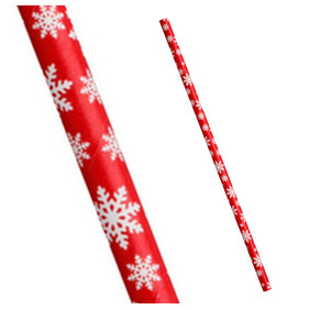 Christmas Red with White Snowflake 197mm x 6mm Biodegradable Paper Drinking Straws