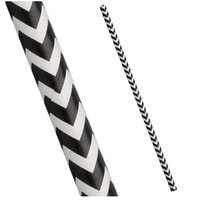 Black and White Chevron Biodegradable Paper Drinking Straws - Size: 197mm x 6mm Rregular)