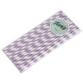 Lilac and White Stripe Biodegradable Paper Drinking Straws - Size 197mm x 6mm (Regular)