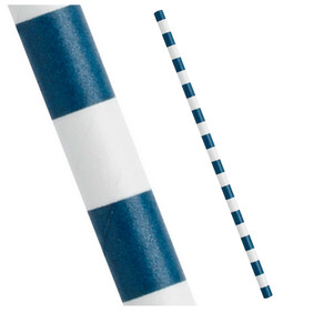 Agean Blue (Navy) & White Sailor Stripe Biodegradable Paper Drinking Straws - 197mm x 6mm (Regular)
