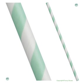 Bulk Case Light Green and White Stripe Biodegradable Paper Drinking Straws Diameter 6mm x 197mm