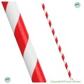Bulk Case Red and White Stripe Biodegradable Paper Drinking Straws Diameter 6mm x 197mm