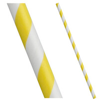 Yellow and White Stripe Biodegradable Paper Drinking Straws (Regular)