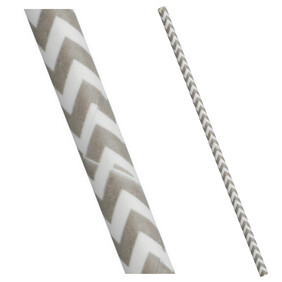 Bulk Case Grey and White Chevron Biodegradable Paper Drinking Straws Diameter 6mm x 197mm