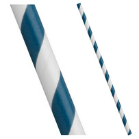 Aegean (Navy) Blue and White Stripe Biodegradable Paper Drinking Straws 197mm x 6mm (Regular)