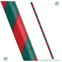 Green and Red Stripe Biodegradable Paper Drinking Straws - Size: 197mm x 6mm (Regular) 25 pack