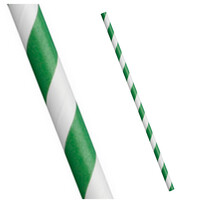 Green and White Stripe Biodegrdable Paper Drinking Straws - Size Options