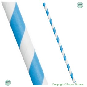 Smoothie Sky Blue and White Stripe (197mm x 8mm) Biodegradable Paper Drinking Straws