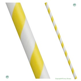 Smoothie Yellow and White Stripe (197mm x 8mm) Biodegradable Paper Drinking Straws
