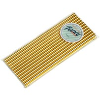 Plain Shiny Gold Biodegradable Paper Drinking Straws 197 x 6mm (Regular)