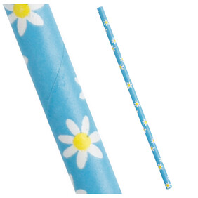 Blue with yellow and white Daisies Biodegradable Paper Drinking Straws - Size: 197mm x 6mm (Regular)