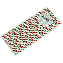 Christmas Shiny Green, Red and White Stripe 197mm x 6mm Biodegradable Paper Drinking Straws 25 Pack