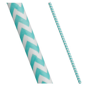 Turquiose and White Chevron Biodegradable Paper Drinking Straws - 197mm x 6mm (Regular)