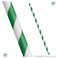Smoothie Green and White Stripe Biodegradable Paper Drinking Straws - 8mm x 197mm