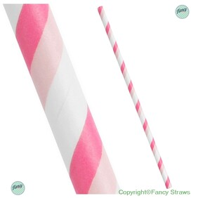 Two Tone Pink and White Stripe Biodegradable Paper Drinking Straws - Size: 197mm x 6mm (Regular)