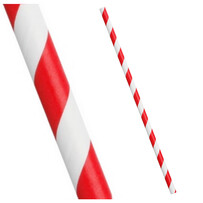 Smoothie Red and White Stripe Paper Drinking Straws 8mm x 197mm