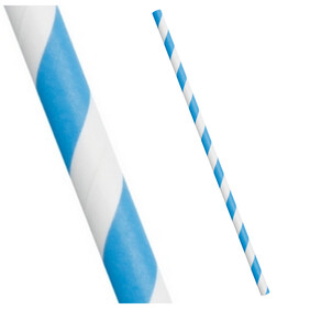 Sky Blue and White Stripe Biodegradable Paper Drinking Straws - 197mm x 6mm (Regular)