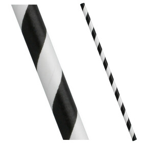Black and White Stripe Biodegradable Paper Drinking Straws - Diameter 6mm (Regular)