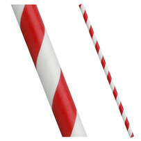 Red and White Stripe Biodegradable Paper Drinking Straws - 6mm x 197mm (Regular)
