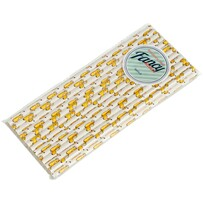 White with Giraffes Biodegradable Paper Drinking Straws - Size: 197mm x 6mm (Regular)