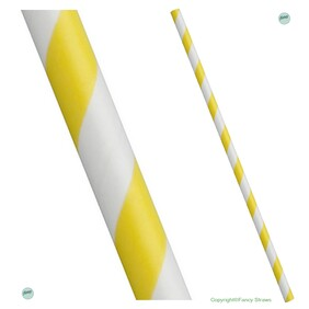 Bulk Case Yellow and White Stripe Biodegradable Paper Drinking Straws Diameter 6mm x 197mm